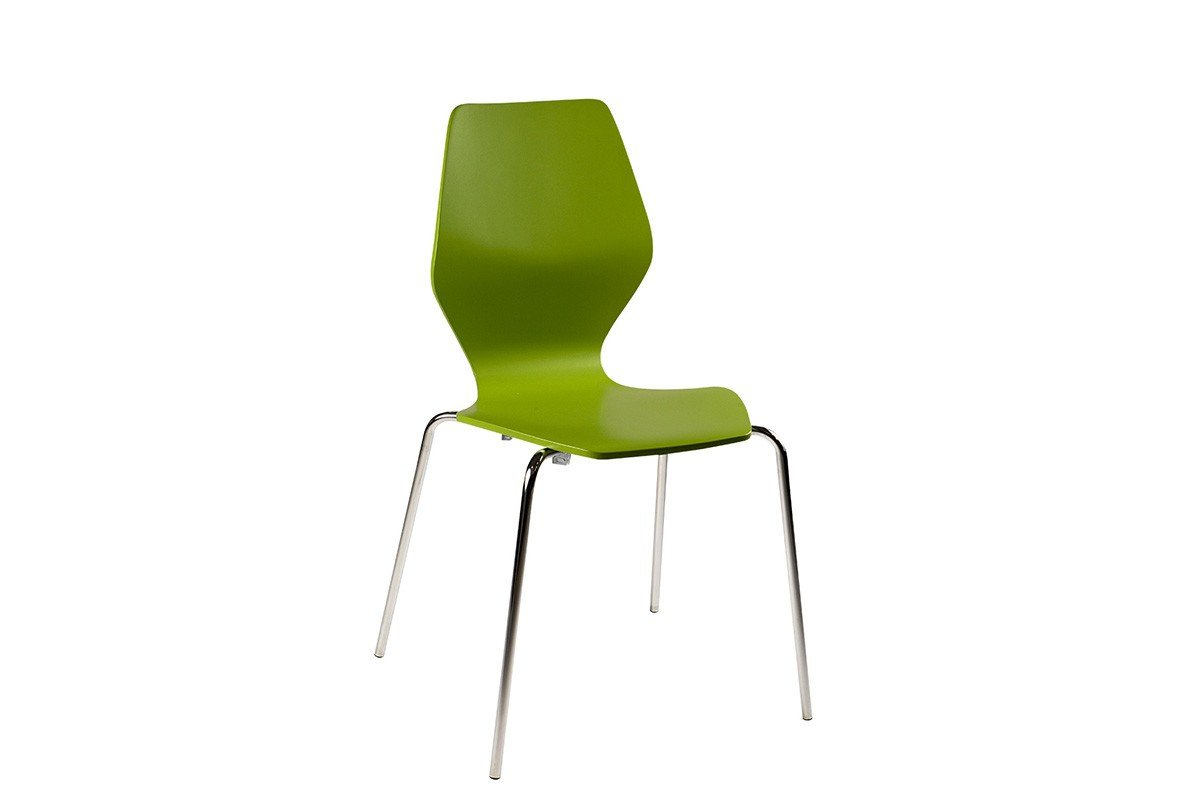 Durable wooden chair, painted, green