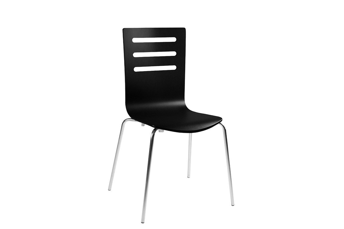 Durable wooden chair, painted, black