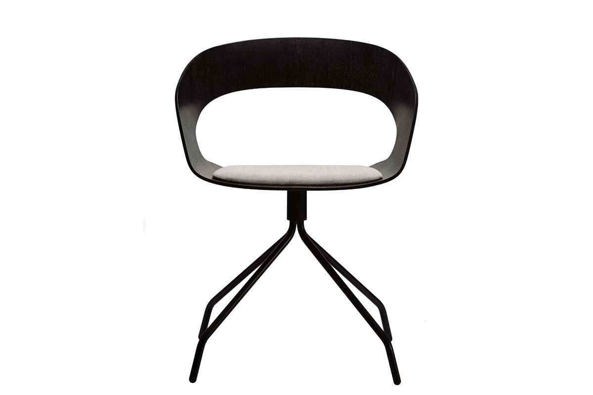 Scandinavian design chair from the oak with pads, stained black