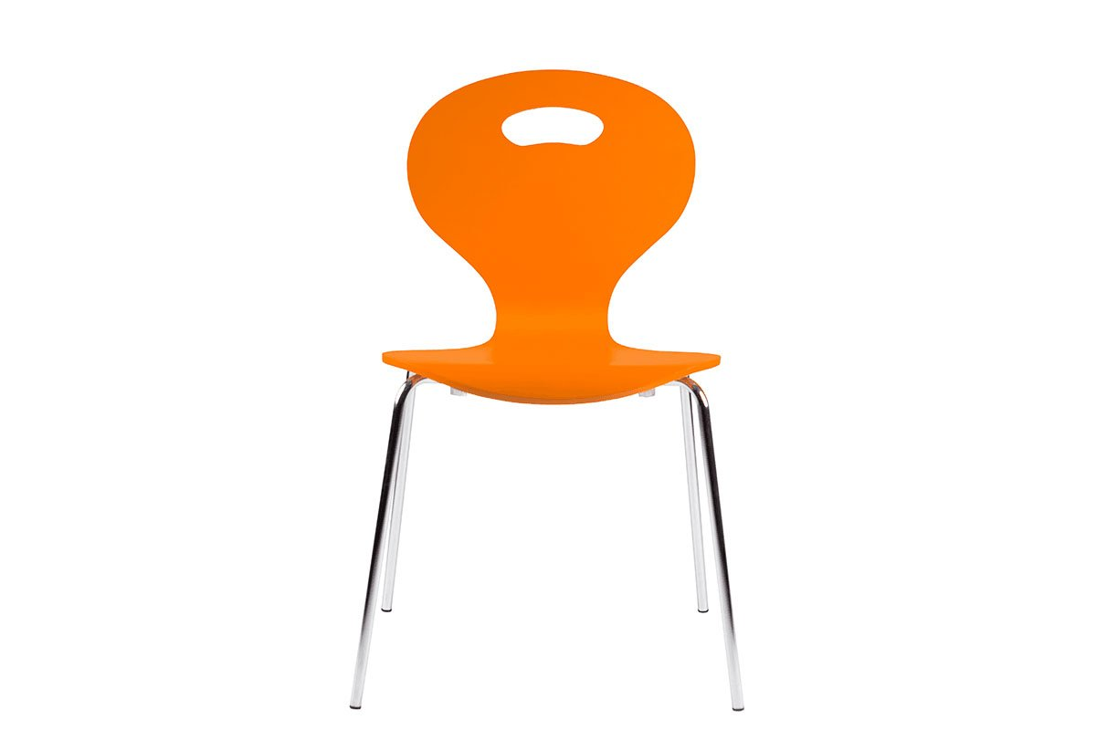 Scandinavian design chair, painted, orange