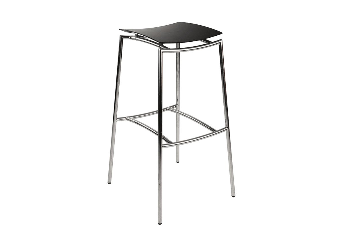 Durable bar stool from the birch with metal frame, stained black