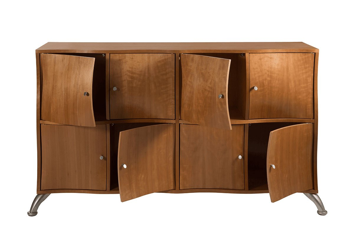 Contemporary plywood cabinet from the cherry, lacquered