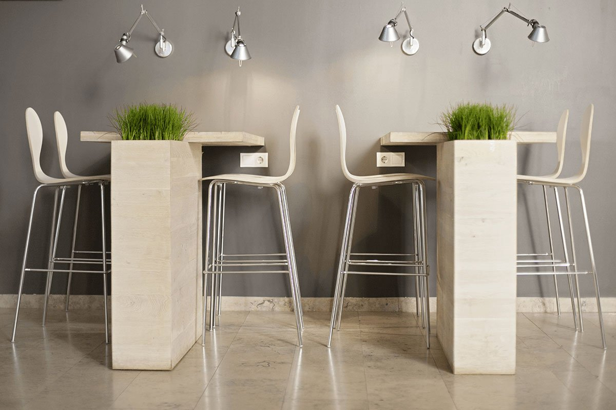 Scandinavian design bar stool, laminate, white