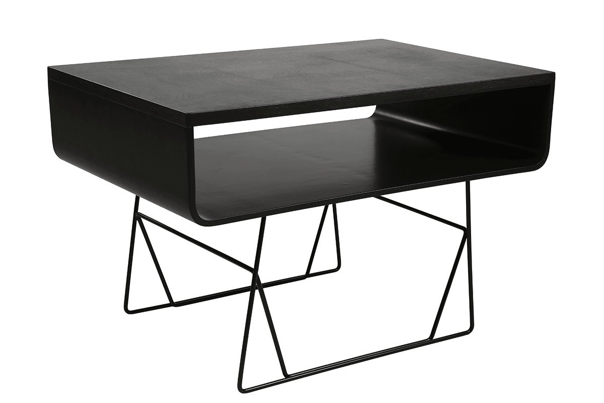 Scandinavian design table from the birch, stained black