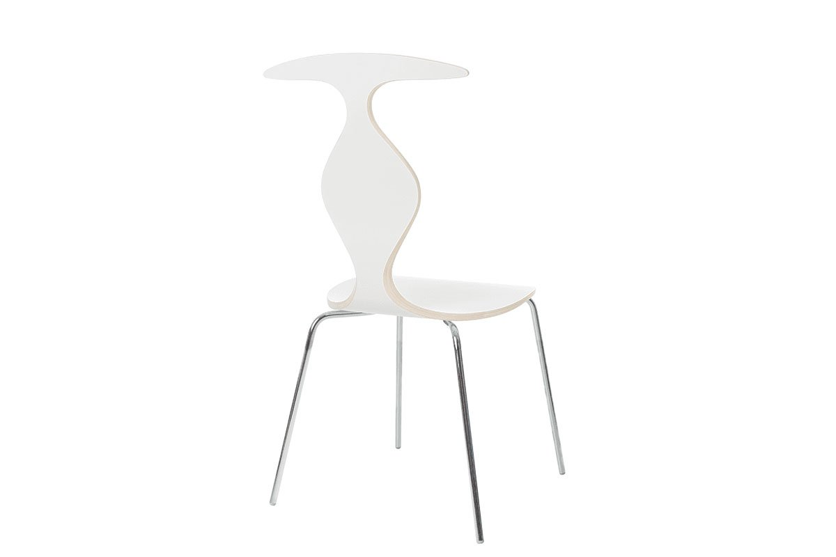 Durable wooden chair, laminate white