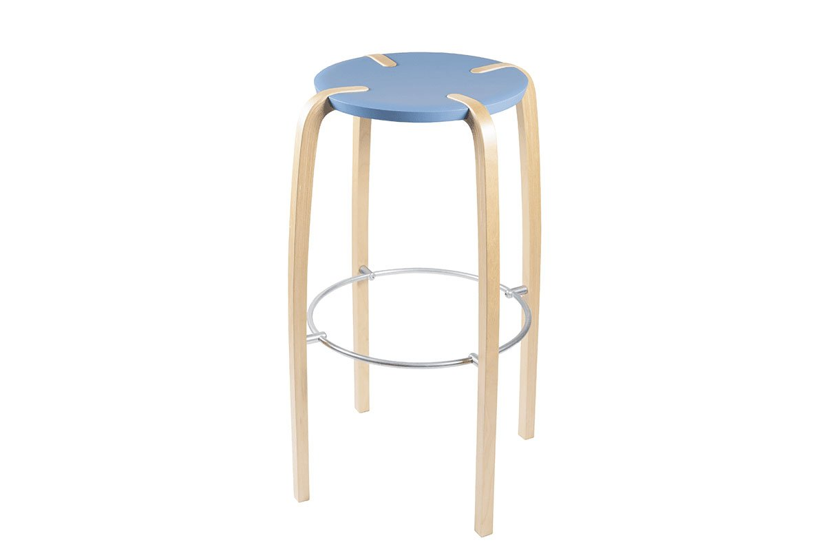 Scandinavian design bar stool from the birch, bleached