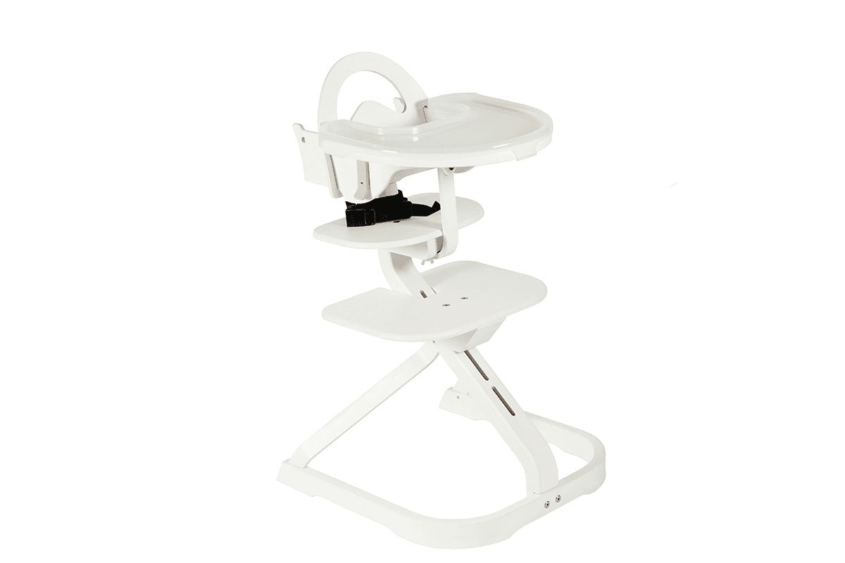 Scandinavian design high chair from the birch, pigmented white