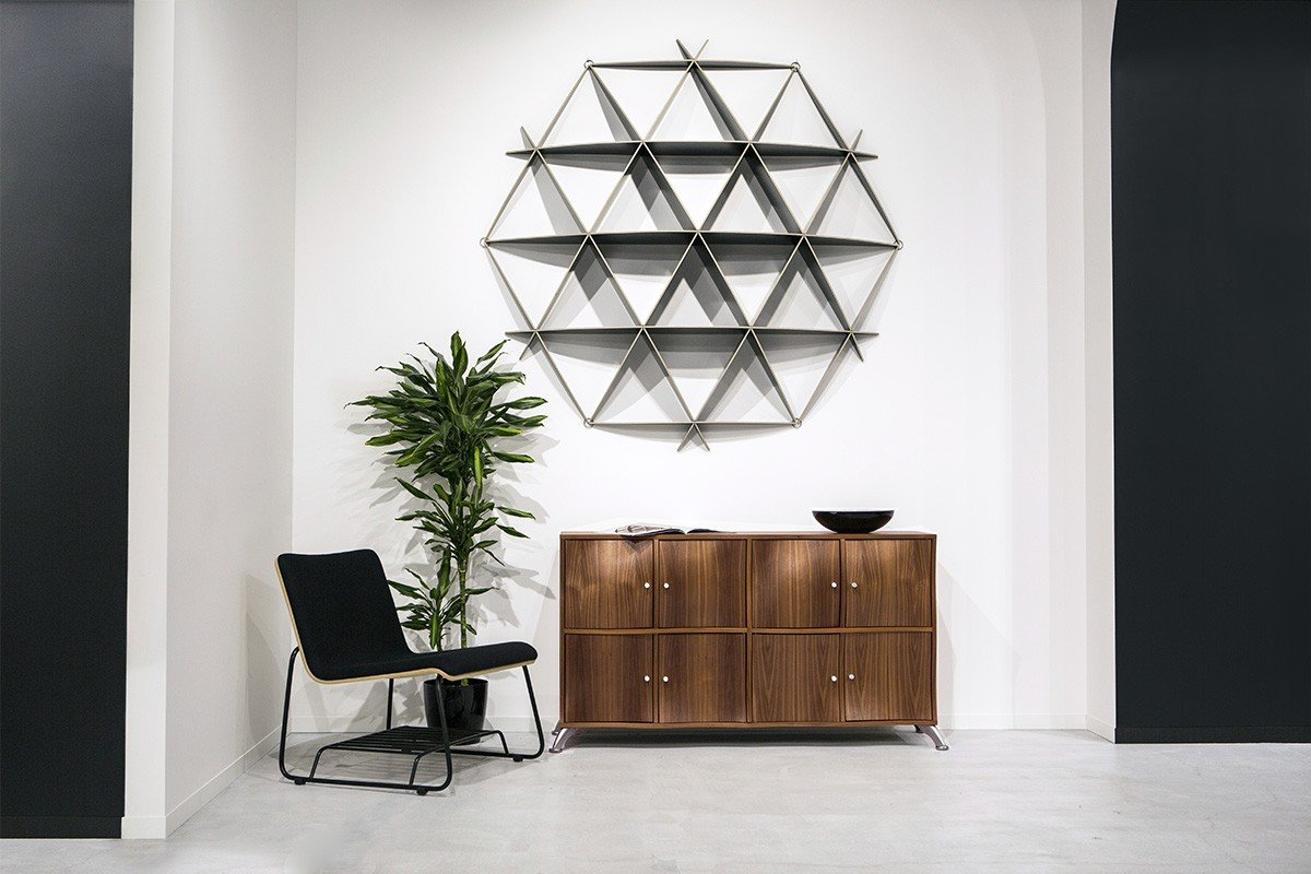 Scandinavian design cabinet from the walnut, lacquered