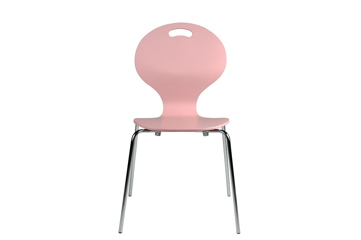 Durable wooden chair, painted, pink