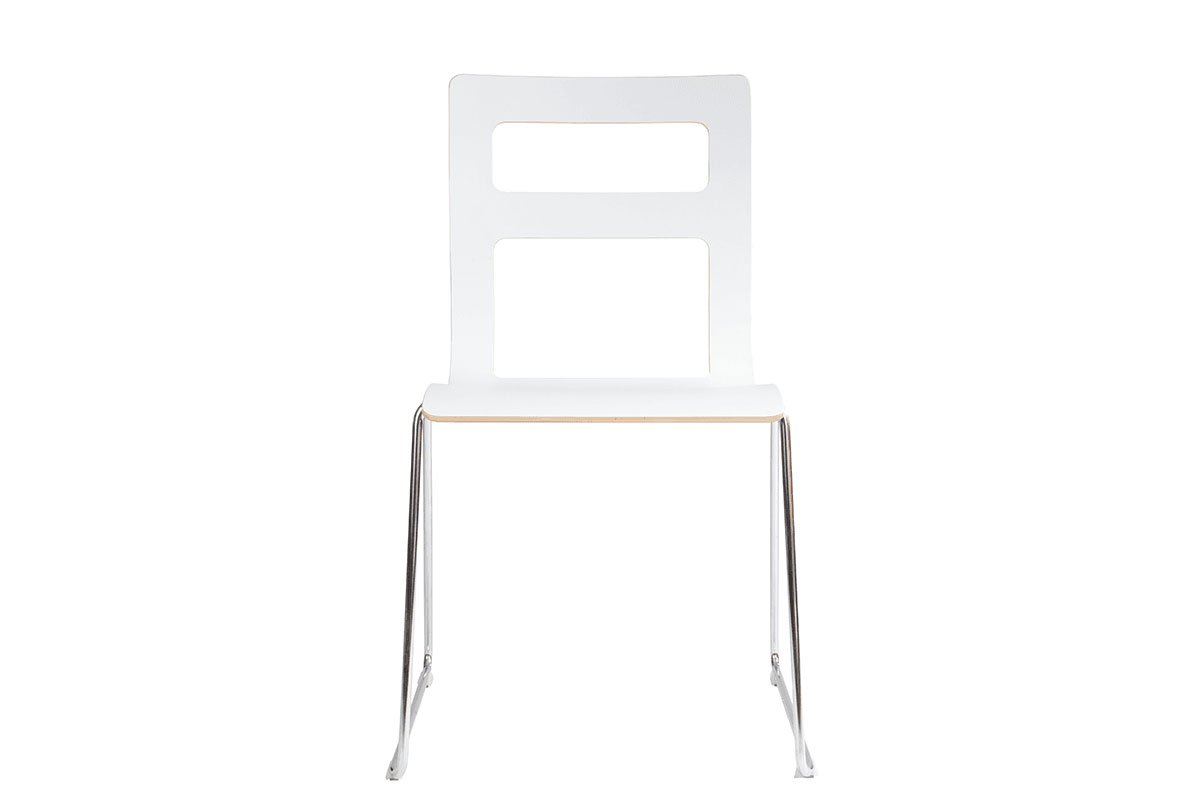 Scandinavian design chair, laminate, white