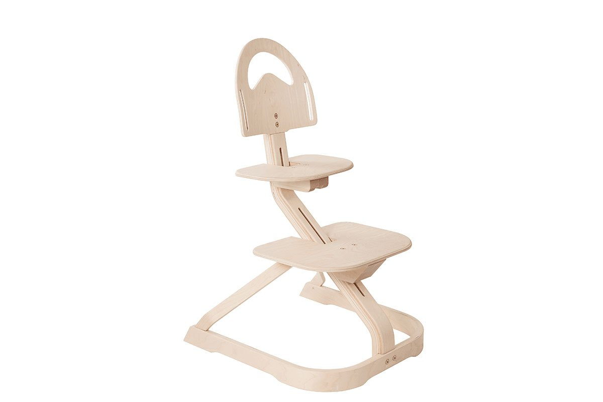 Scandinavian design high chair from the birch, bleached