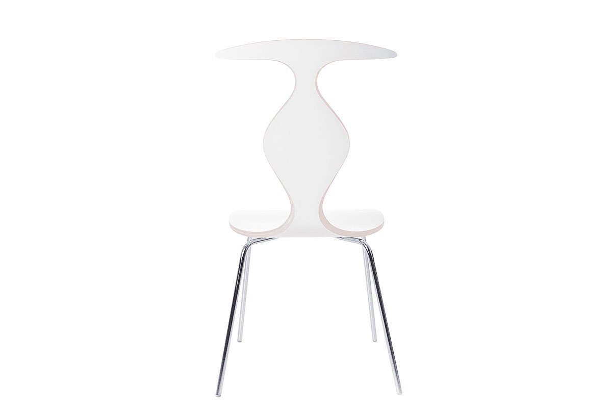 Contemporary plywood chair, laminate white