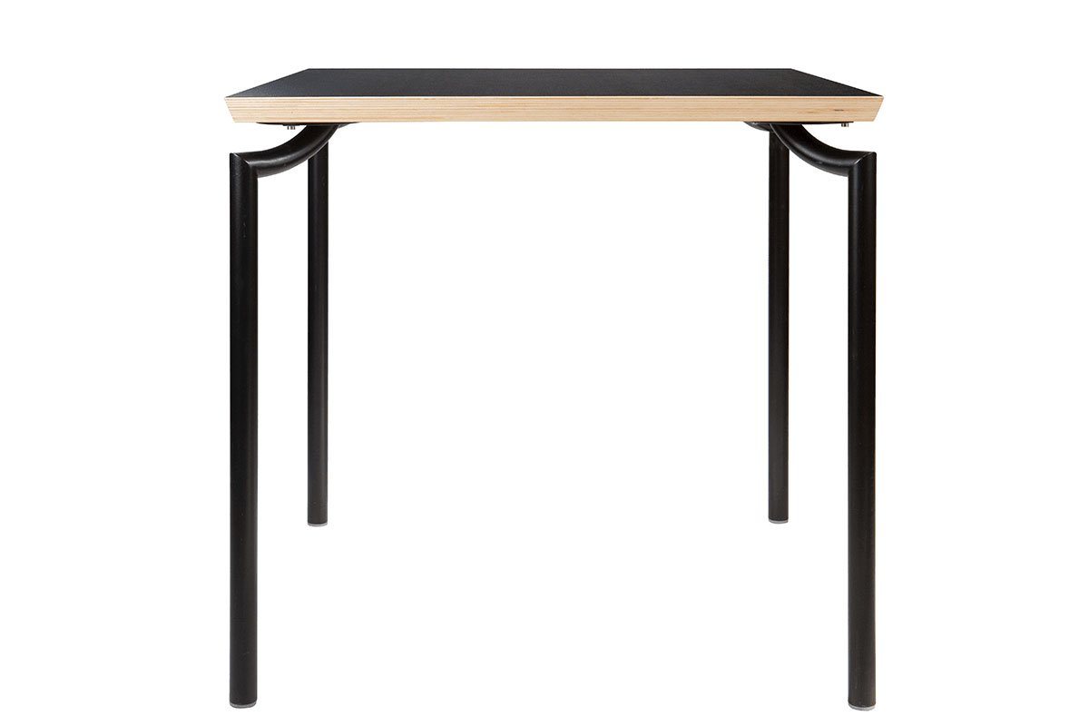 Contemporary plywood table, laminate, black