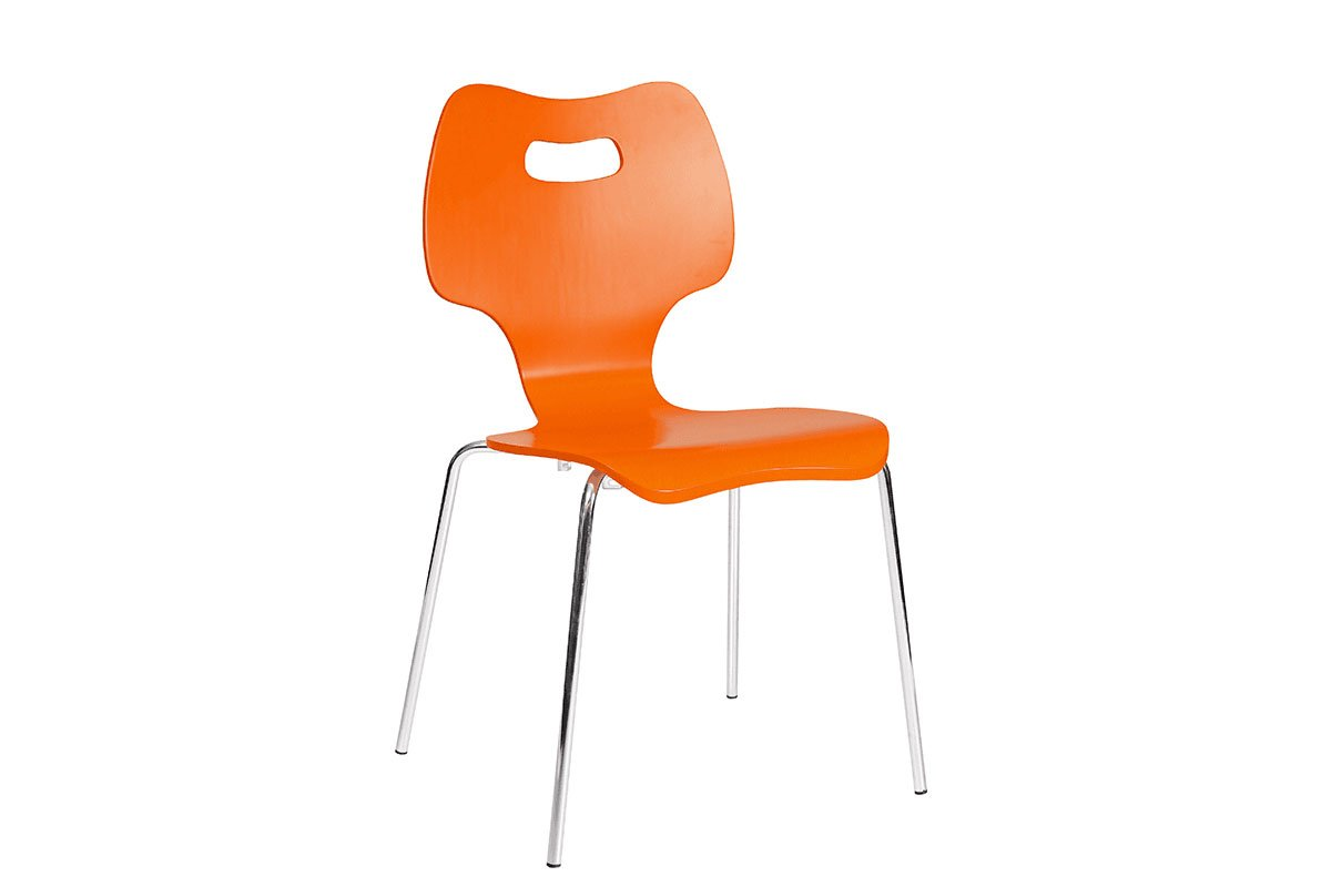 Contemporary plywood chair, painted, orange