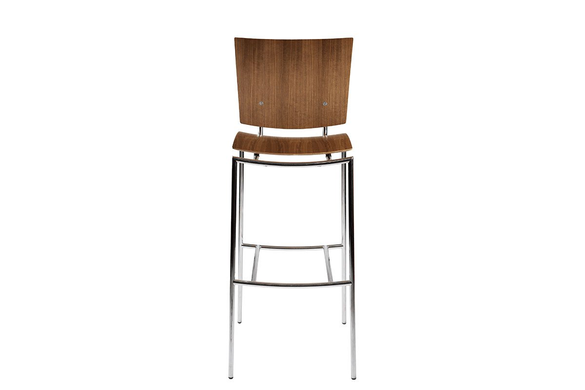 Scandinavian design bar stool from the walnut, lacquered