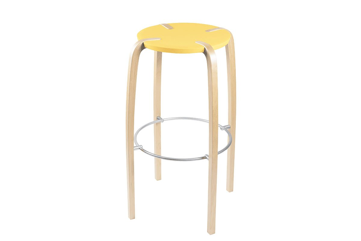 Durable wooden bar stool from the birch, lacquered