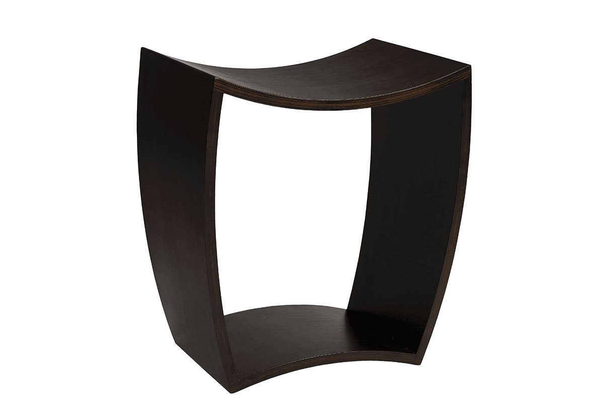 Contemporary plywood stool from the birch, stained wenge