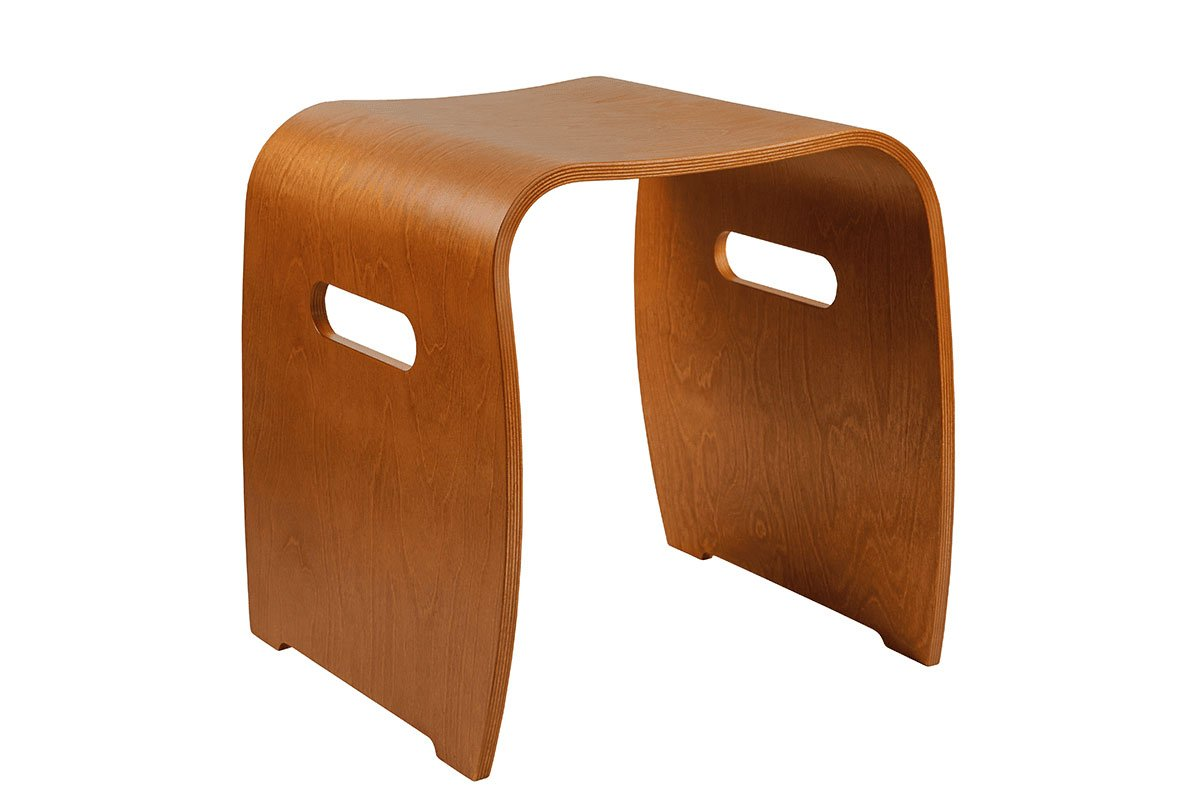 Durable wooden stool from the birch, stained cherry