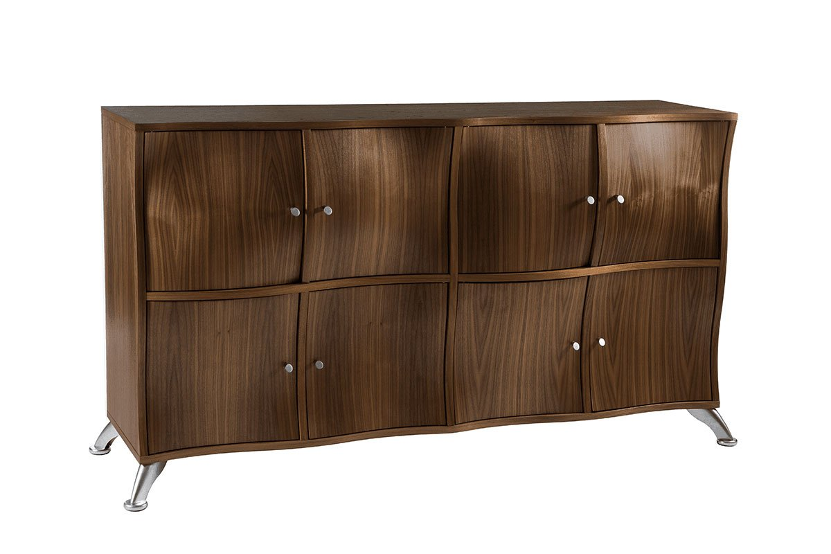 Durable wooden cabinet from the walnut, lacquered