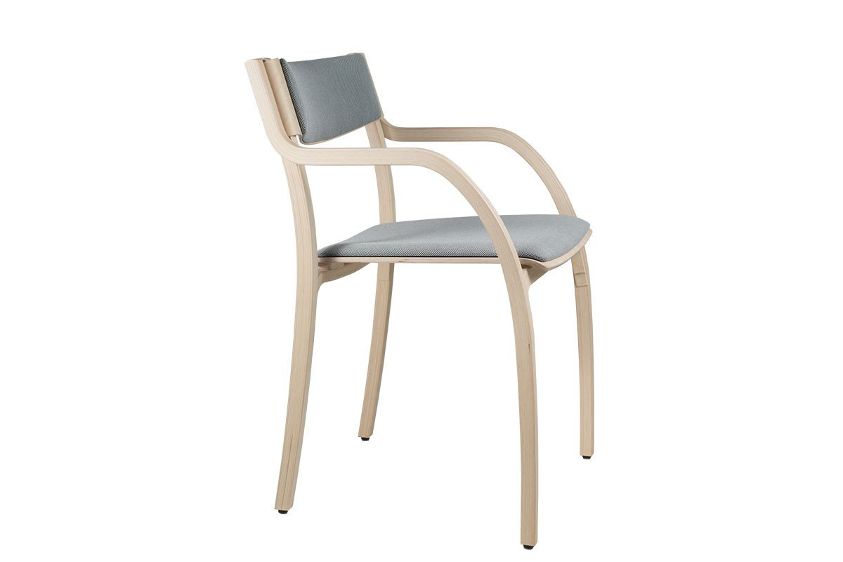 Contemporary plywood chair from the birch with pads, bleached