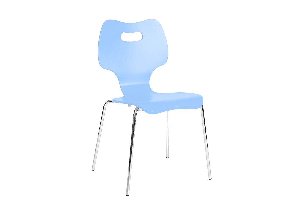 Durable wooden chair, painted, blue