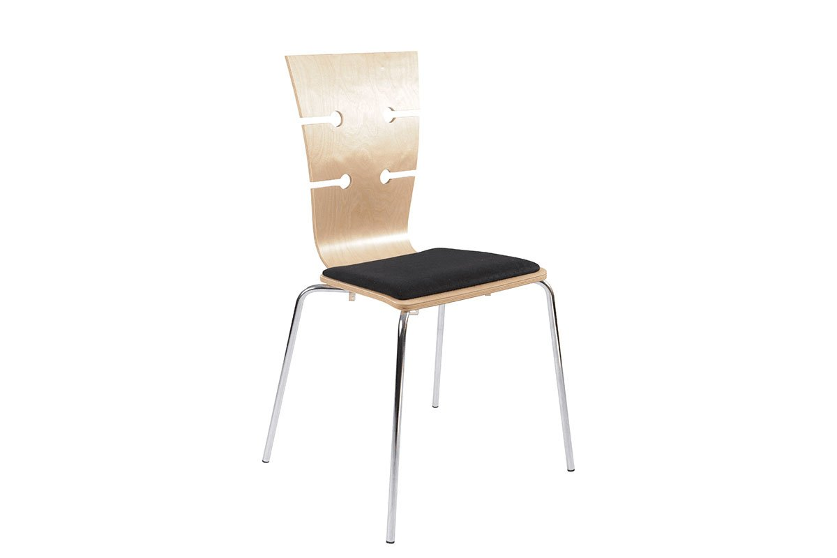Scandinavian design chair from the birch with pads, lacquered