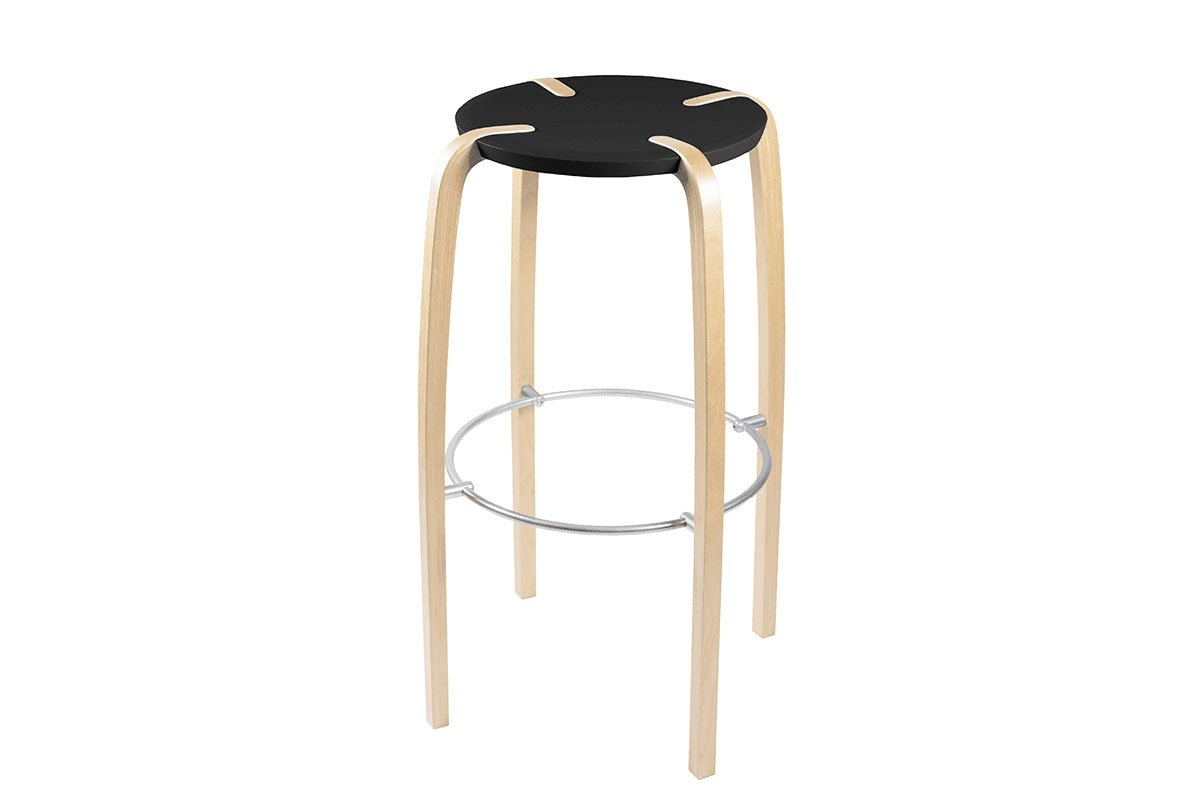 Scandinavian design bar stool from the birch, lacquered