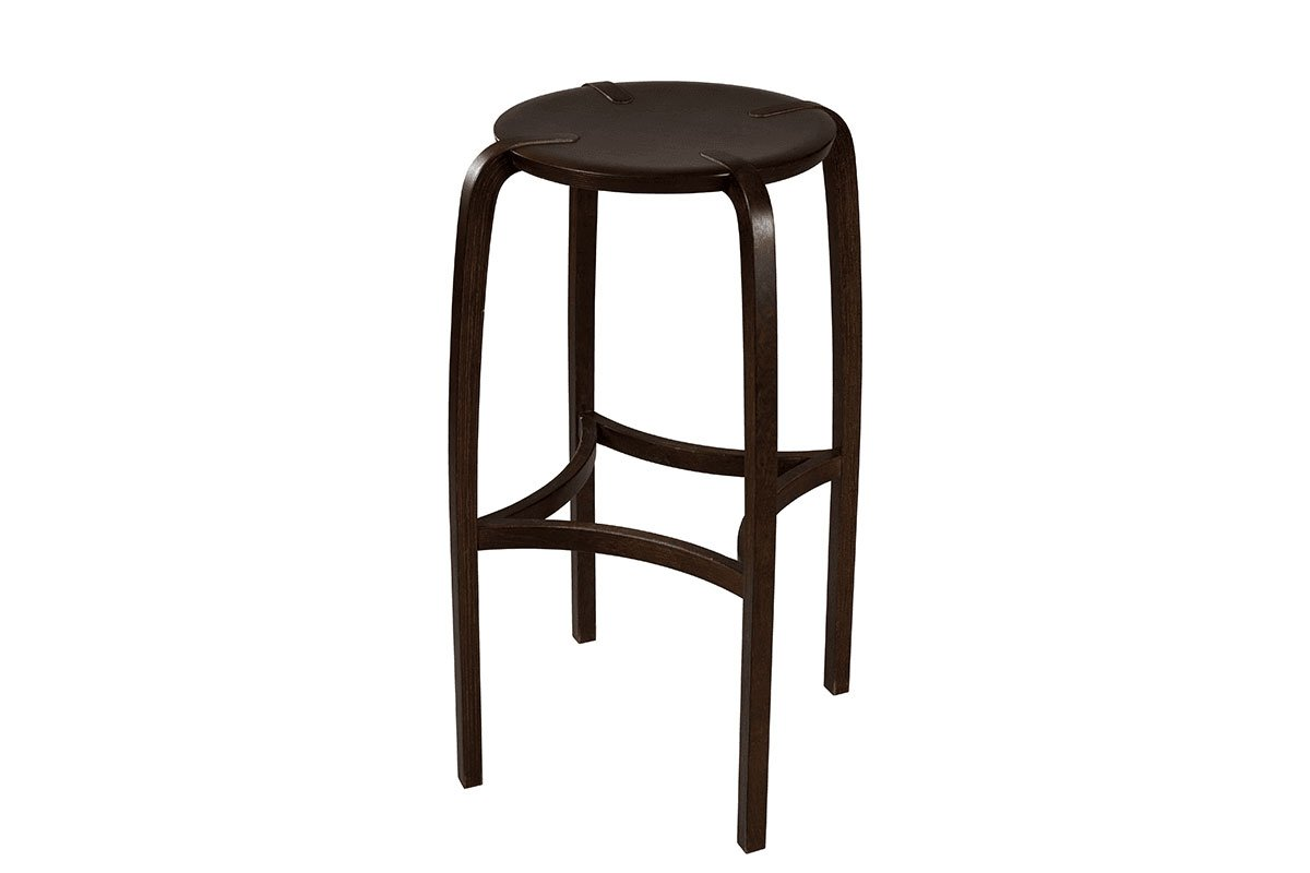 Durable woodenbar stool from the birch, stained wenge