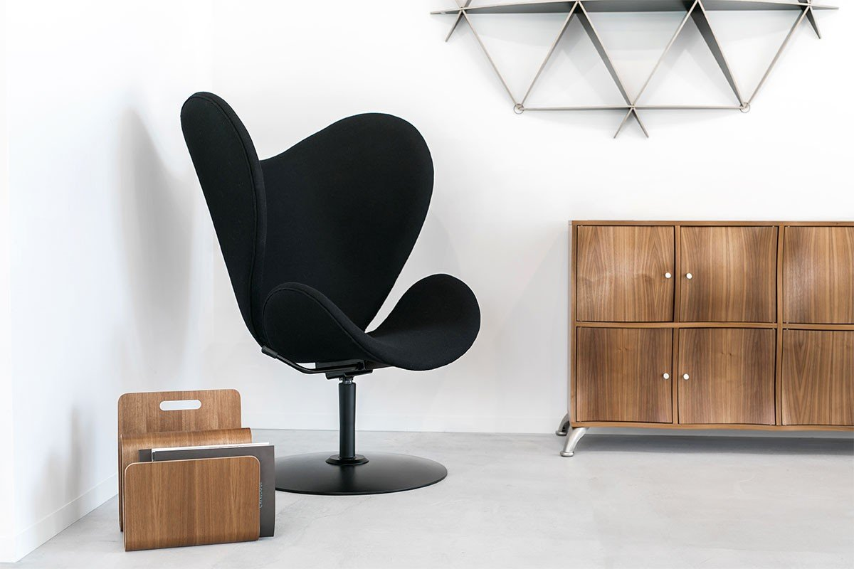 Contemporary plywood cabinet from the walnut, lacquered